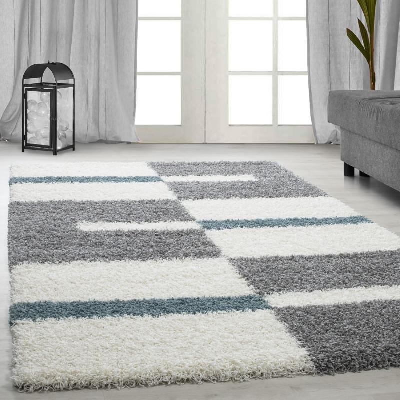 hochflor langflor wohnzimmer shaggy teppich florh he 3cm grau weiss t rkis. Black Bedroom Furniture Sets. Home Design Ideas