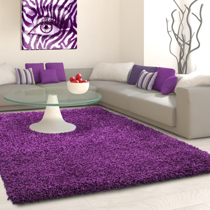 Structure à fibres longues Salon Shaggy Tapis de Parement 3cm unifarbe  Violet