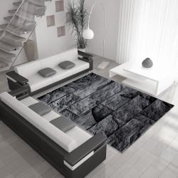 Moderne, Salon Tapis avec un motif en pierre (PARME 9250 Noir-Gris