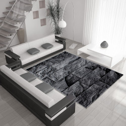Moderne woonkamer tapijt met steen motief PARMA 9250 Zwart-grijs