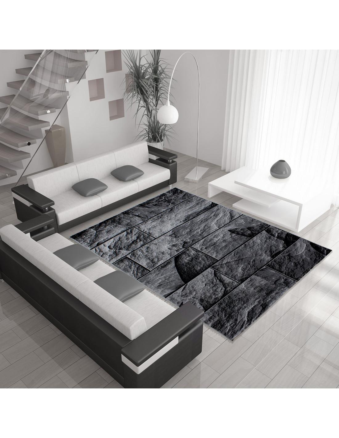 Modern designer living room rug with stone motif PARMA 9250 black-gray