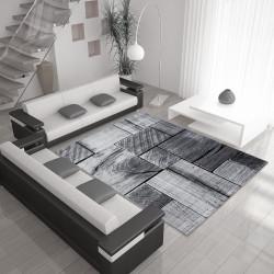 Moderne, Salon Tapis avec effet bois PARME 9260 Noir-Gris