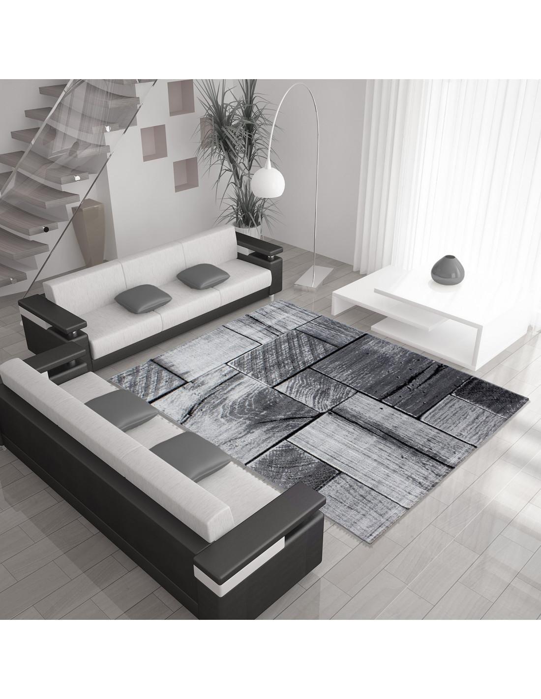 Modern designer living room rug with wood motif PARMA 9260 black-gray