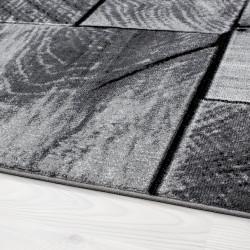 Tappeto da salotto di design moderno con motivo in legno PARMA 9260 nero-grigio