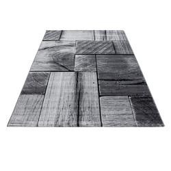 Modern Designer living room rug with wooden motif PARMA 9260 Black-grey