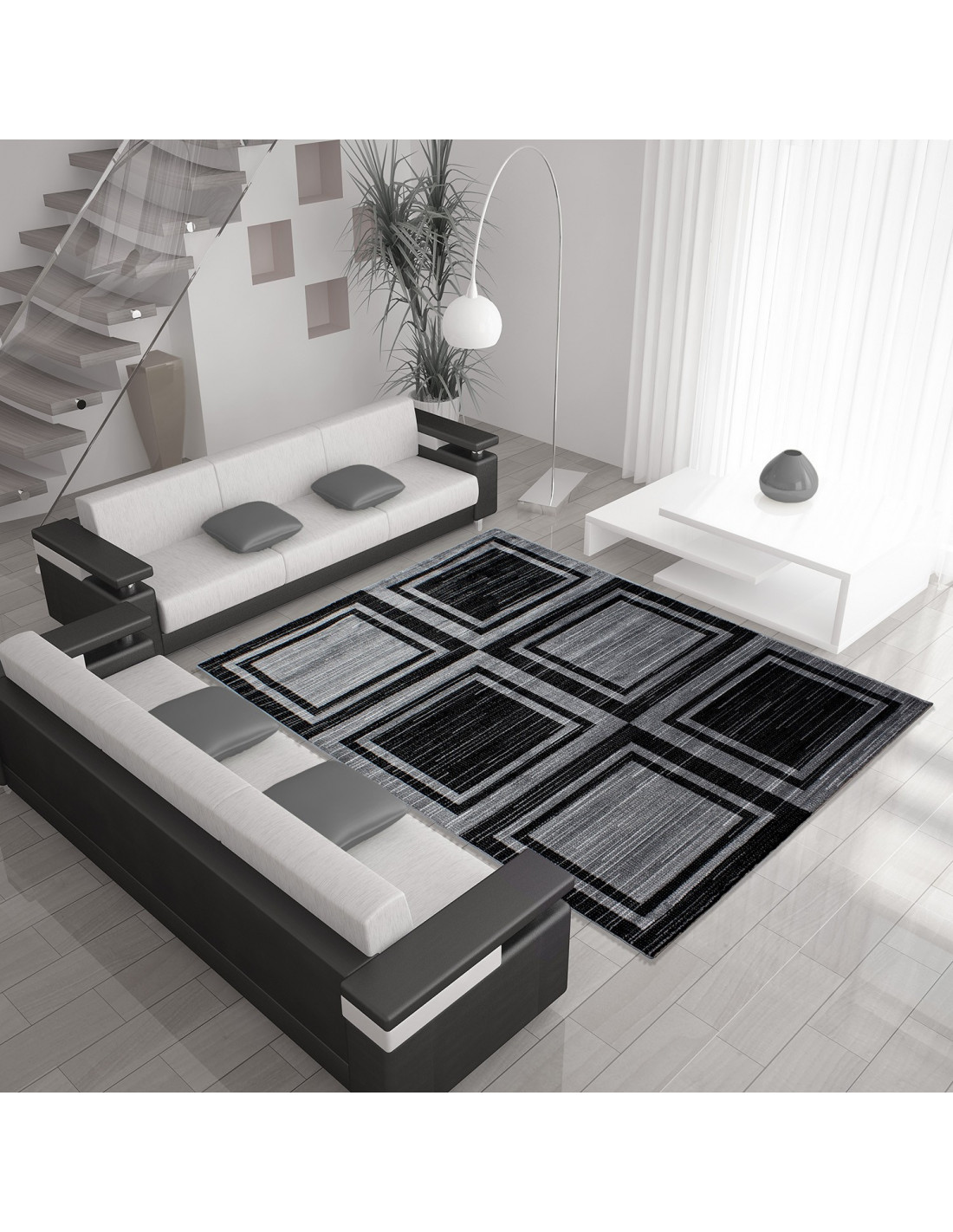 Moderner Designer Wohnzimmer Teppich mit Blockmuster PARMA ...