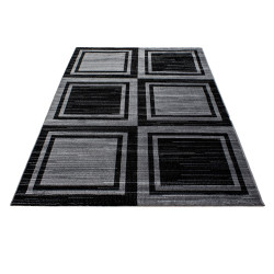 Modern Designer living room rug with block pattern PARMA 9270 Black-grey
