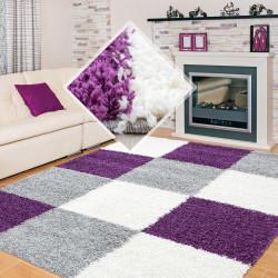 Shaggy stapel woonkamer Shaggy tapijt poolhoogte 3 cm bruin Wit grijs plaid