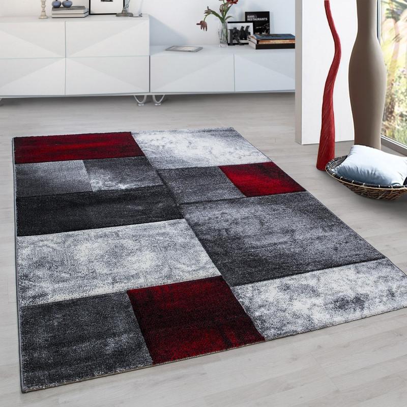 Modern Designer contour cut 3D living room carpet of Hawaii, 1710 Red