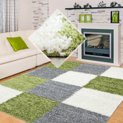 Shaggy carpet with long pile, two colors, different sizes and colors