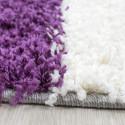 Structure à fibres longues Salon Shaggy Tapis 3cm hauteur de la pile à carreaux Violet Blanc Gris
