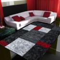 Modern Designer contour cut 3D living room carpet Hawaii 1330 Red