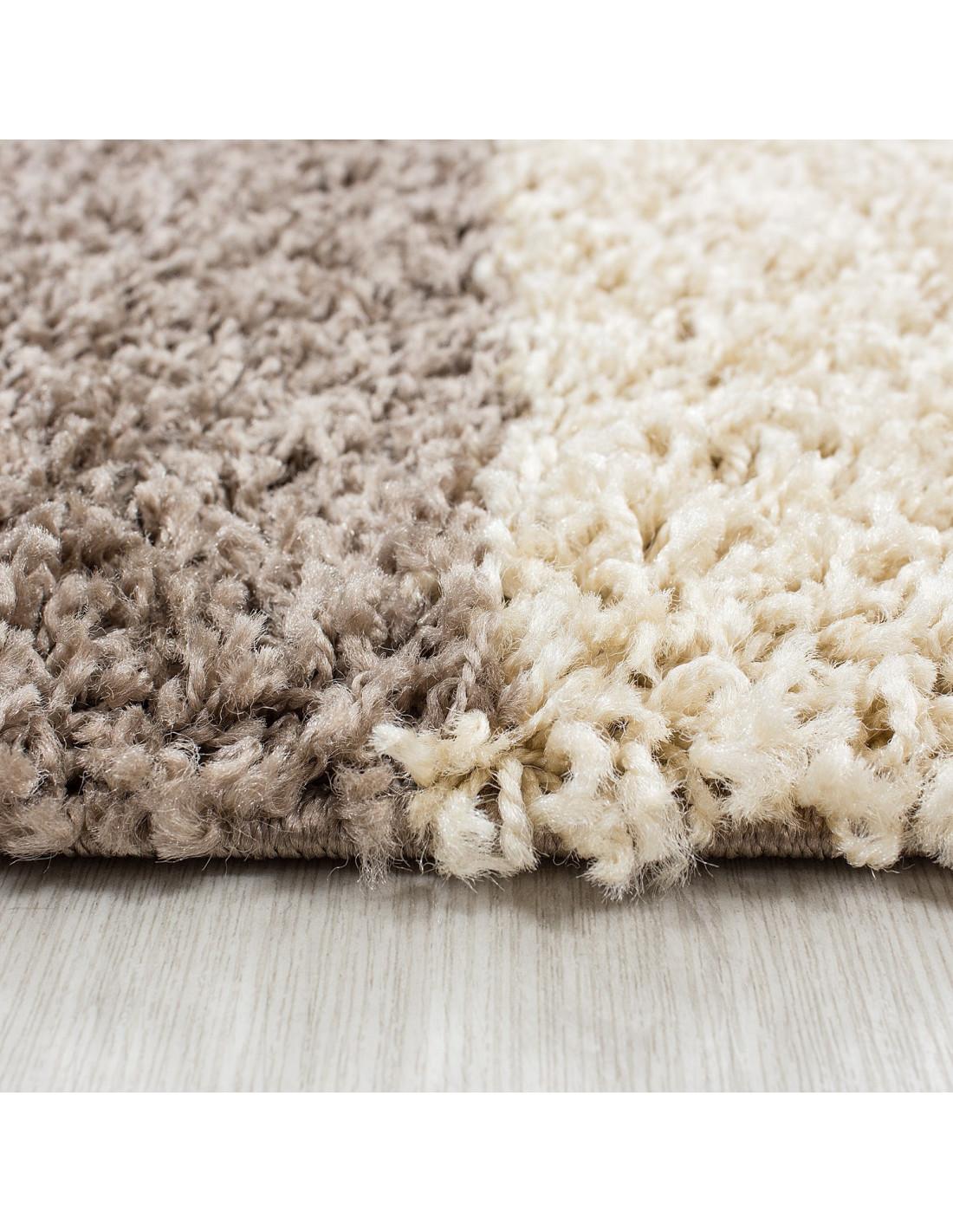 hochflor langflor wohnzimmer shaggy teppich kariert braun weiss beige. Black Bedroom Furniture Sets. Home Design Ideas