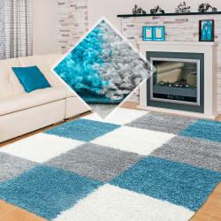Shaggy carpet checkered turquoise white gray