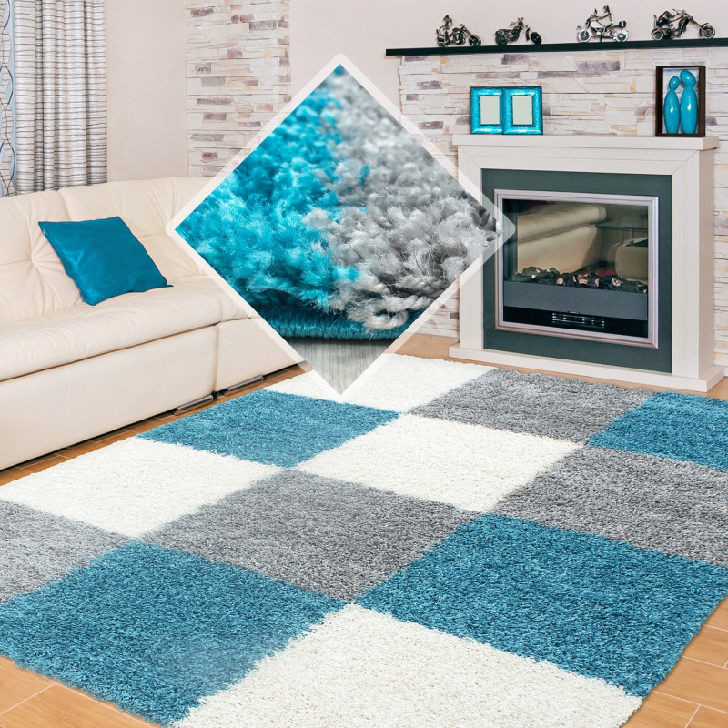 Shaggy stapel woonkamer Shaggy tapijt plaid turquoise Wit grijs